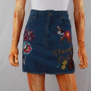 SPELL & THE GYPSY | flower child denim mini skirt